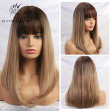 Blonde Unicorn Synthetic Long Silky Straight Hair Dark Root Ombre Light Brown Wigs with Neat Bangs for Women 11 Colors(China)