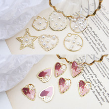 new design hot-sales alloy heart-shaped star hexagonal pendant pearl earrings for women girl material diy jewelry accessories