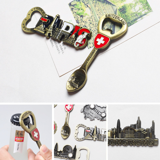 Tourist souvenir Switzerland Italy refrigerator magnet beer opener Europe Britain France Germany travel souvenir home decoration 6