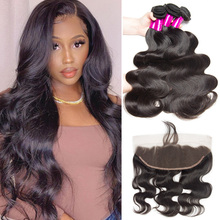 Ailbele Malaysian Body Wave Lace Frontal Closure With Bundles 100% Human Hair 3 Bundles With Frontal Closure Ear To Ear 10 30 in