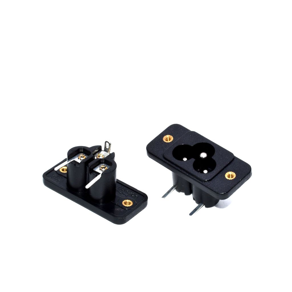 50PCS/ Lot 3 Pin IEC320 C6 AC Plug Power Socket With Screw On Mounting Solder Terminal 250V 2.5A