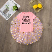 Infant Girl Skirts Auntie Suits Clothes-Sets Romper Outfits My Cute 2pcs Tutu Tops Don't