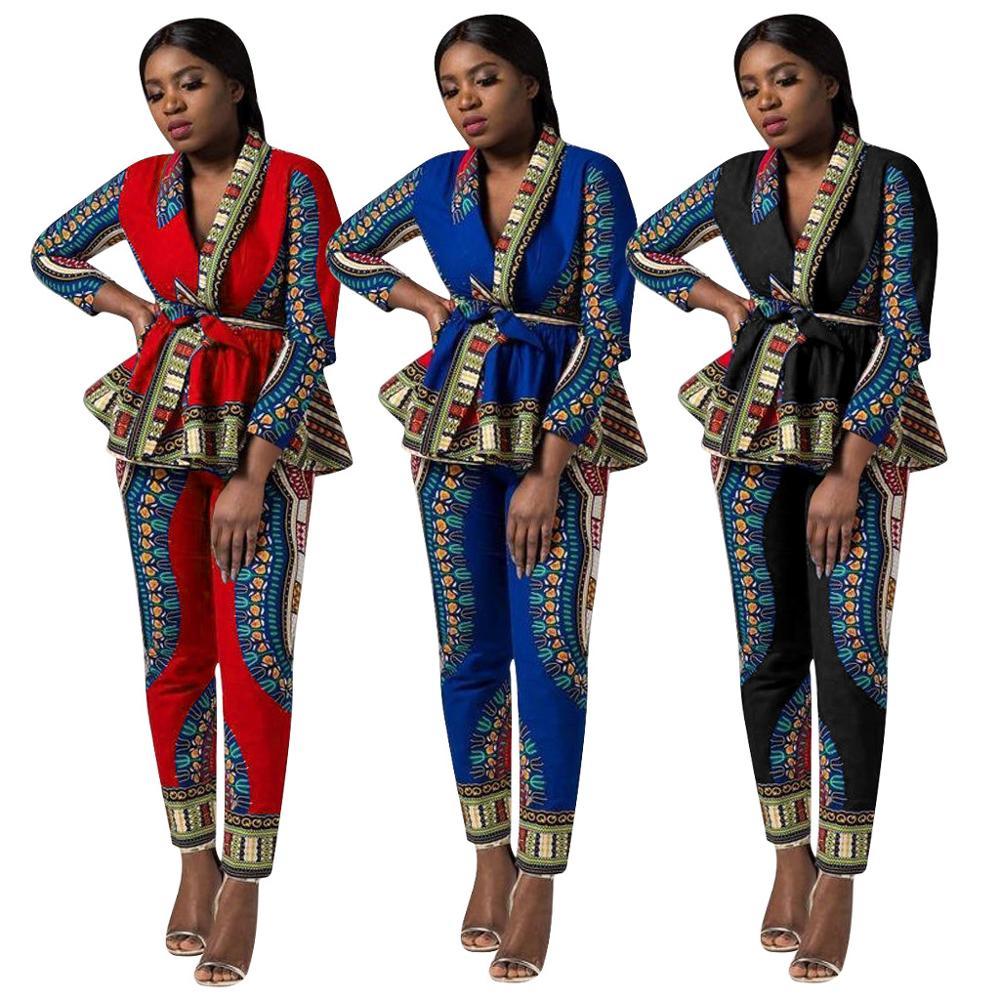 2 stück Set Afrika Kleidung African Dashiki Neue Dashiki Mode Anzug (Top Und Hose) super Elastische Party Plus Größe Für Dame