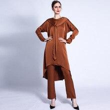 Muslim Hooded Tops Pants Sets Women Abayas Arabic Satin Kaftan Ribbons Islamic Clothing Ramadan Middle East Turkey Moroccan New