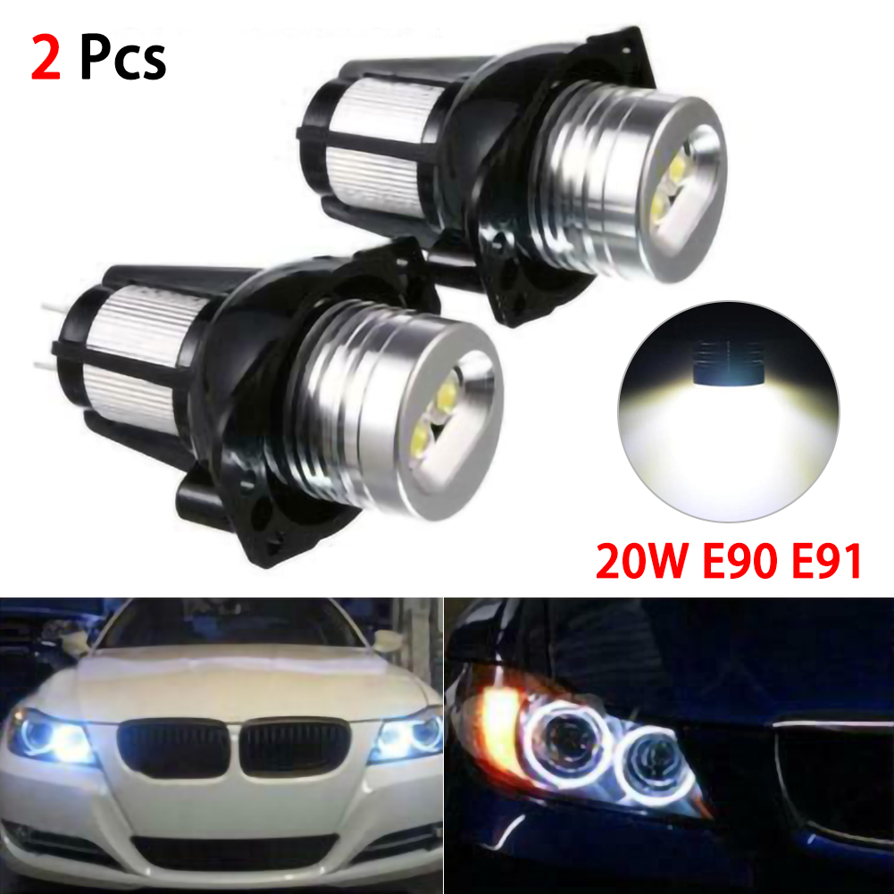 2pcs 20W LED Headlights Angel Eye Halo Ring Lamp Bulbs for BMW E90 E91 05-08 Car Accessories image