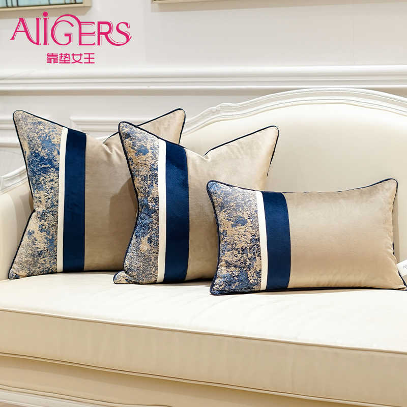 Avigers Luxury Velvet Black Cyan Pink Square Home Decorative Pillow Cases Patchwork Striped Cushion Covers for Sofa Bedroom