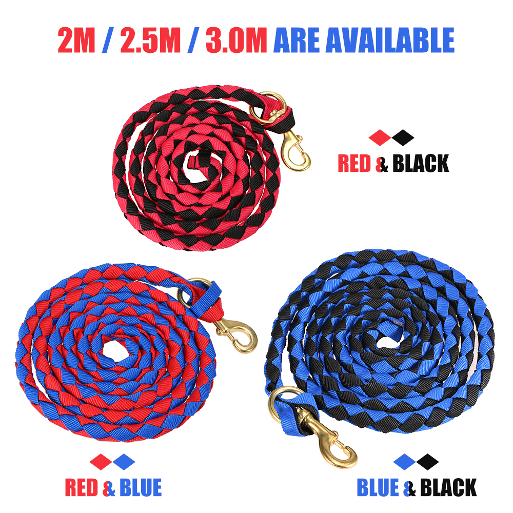Hot New 2.0M / 2.5M / 3.0M Leading Horse Rope High Quality Braided Horse Racing Rope Braid Horse Halter With Brass Snap