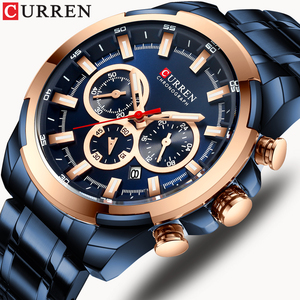 Image 1 - CURREN Fashion Casual Stainless Steel Watches Mens Quartz Wristwatch Chronograph Sports Watch Luminous pointers Clock Male