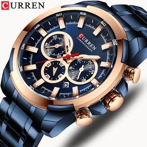 Image 1 - CURREN موضة ساعات الفولاذ عادية للرجال كوارتز ساعة اليد كرونوغراف ساعة رياضية مؤشرات مضيئة ساعة الذكور