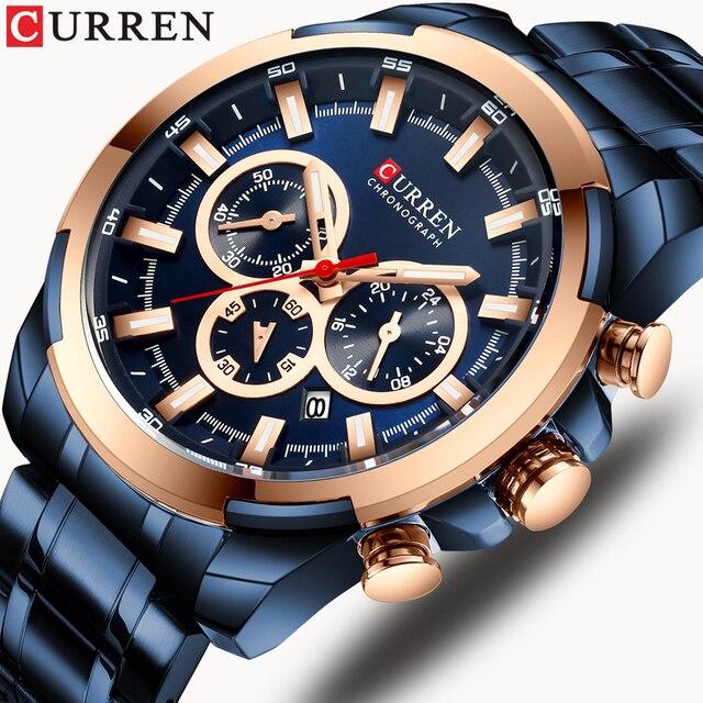 CURREN موضة ساعات الفولاذ عادية للرجال كوارتز ساعة اليد كرونوغراف ساعة رياضية مؤشرات مضيئة ساعة الذكور