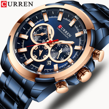 Curren Fashion Casual Rvs Horloges Heren Quartz Horloge Chronograaf Sport Horloge Lichtgevende Pointers Klok Mannelijke