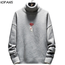 ICPANS Men Turtleneck Pullover Streetwear Casual Hip Hop Sweater For 2019 Winter Autumn