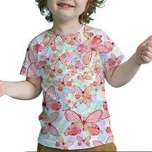 Summer kids vivid cute flower butterfly 3d print t shirt girls