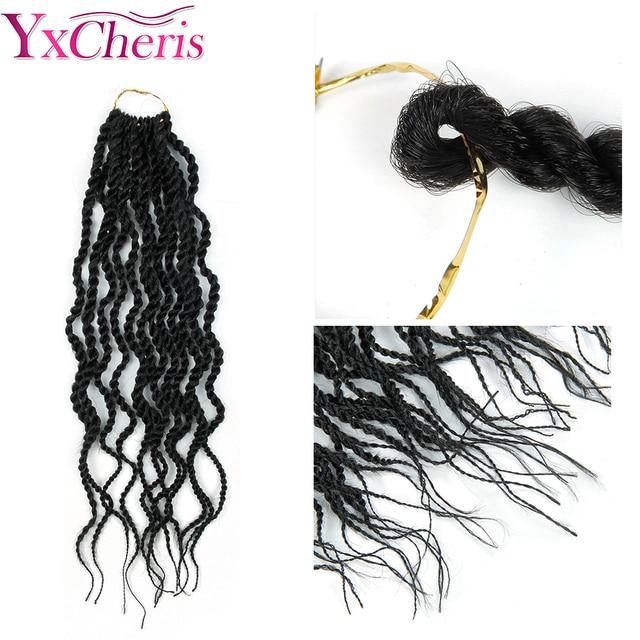 YxCheris-Extensions capillaires synthétiques bouclées au Crochet | Tresses en vrac, tresses au Crochet de 18 pouces, tissage de tresses au Crochet, ombré noir