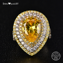 Shipei Natural Citrine Water Drop Ring for Women Fine Jewelry 925 Sterling Silver Teardrop Engagement CocKtail Gift