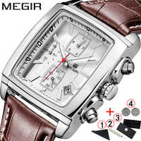 Watches Men 2019 Top Brand Luxury MEGIR Business Square Wristwatches Men Leather Wristwatch Mens Chronograph Watch Man 2019