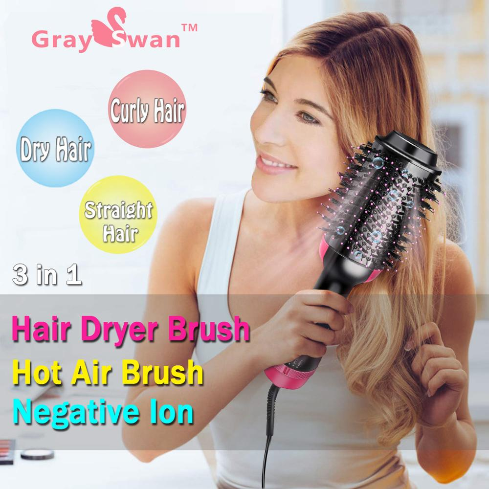 Hair Dryer Brush And Hot Air Brush GraySwan 3 In 1 Electric One Step Hair Dryer Volumizer With Negative Ion Curling Dryer Brush