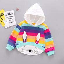 Rabbite Ohr Infant Baby Junge Mädchen Mit Kapuze Tops Mode 3D Bunny Ohr Striped Kapuze Baumwolle Mischung T-shirt Tops Neugeborene Kleidung winter(China)