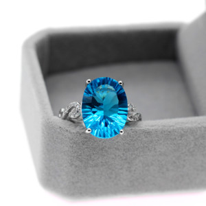 Image 3 - Uloveido Natural Blue Topaz Ring, 10 Carat Gemstone,925 Silver Rings,Birthstone Ring, with Certificate and Gift Box 20% FJ304