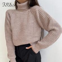 FSDA de cuello alto suéter de las mujeres caqui manga larga Jersey 2020 Otoño e Invierno Casual Rosa Jersey holgado de gran tamaño