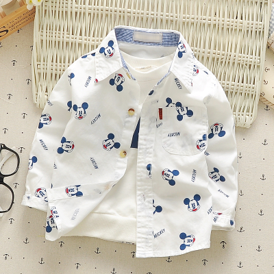 Baby Boys Shirts 0-4y 2019 Spring Long-sleeve Pure Cotton Children Clothes Causal Cartoon Infants Fashion Kids Tops Wear