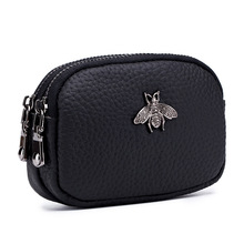 New Women Small Coin Wallet Genuine Leather Purse Hot Bee Decoration Double Zipper Change Pouch Ladies Clutch