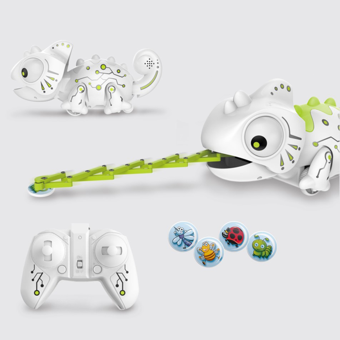 2.4G Remote Control Chameleon Lizard Robot Hungry Chameleon With 12 Kinds Of Colorful Light Changing Puzzle Toys For Children