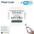 2 gang diy wifi inteligente 2 way luz led dimmer módulo interruptor vida inteligente/tuya app controle remoto trabalho com alexa google casa