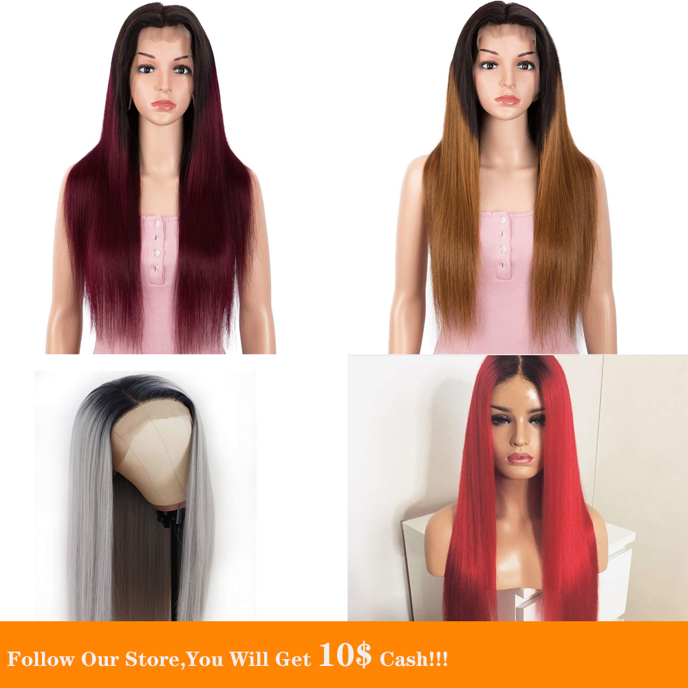 13x6 Ombre Lace Front Human Hair Wig HD Silky Long Straight 1B Red Blonde Wine Grey Preplucked Colored Hair Wig  For Women