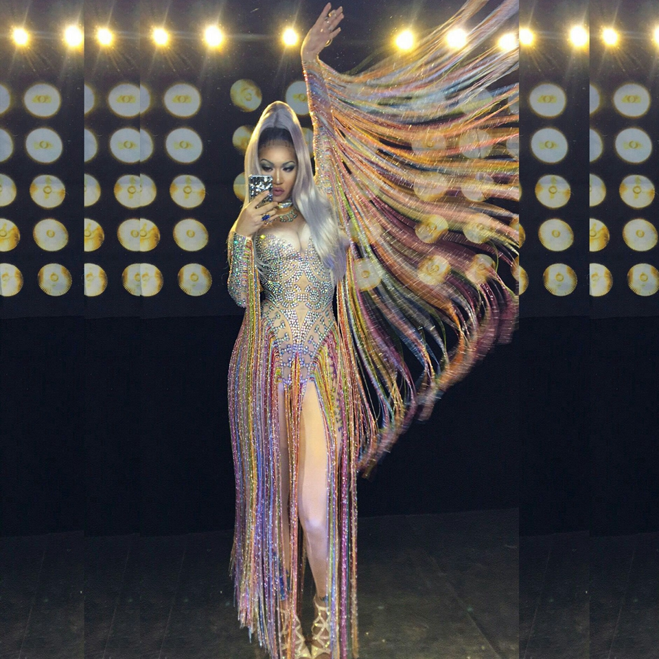 Glisten Crystals Jumpsuit Sexy Long Multi-colored Tassel Rhinestones Bodysuit Women Nightclub Outfit Singer Stage Dance Costume