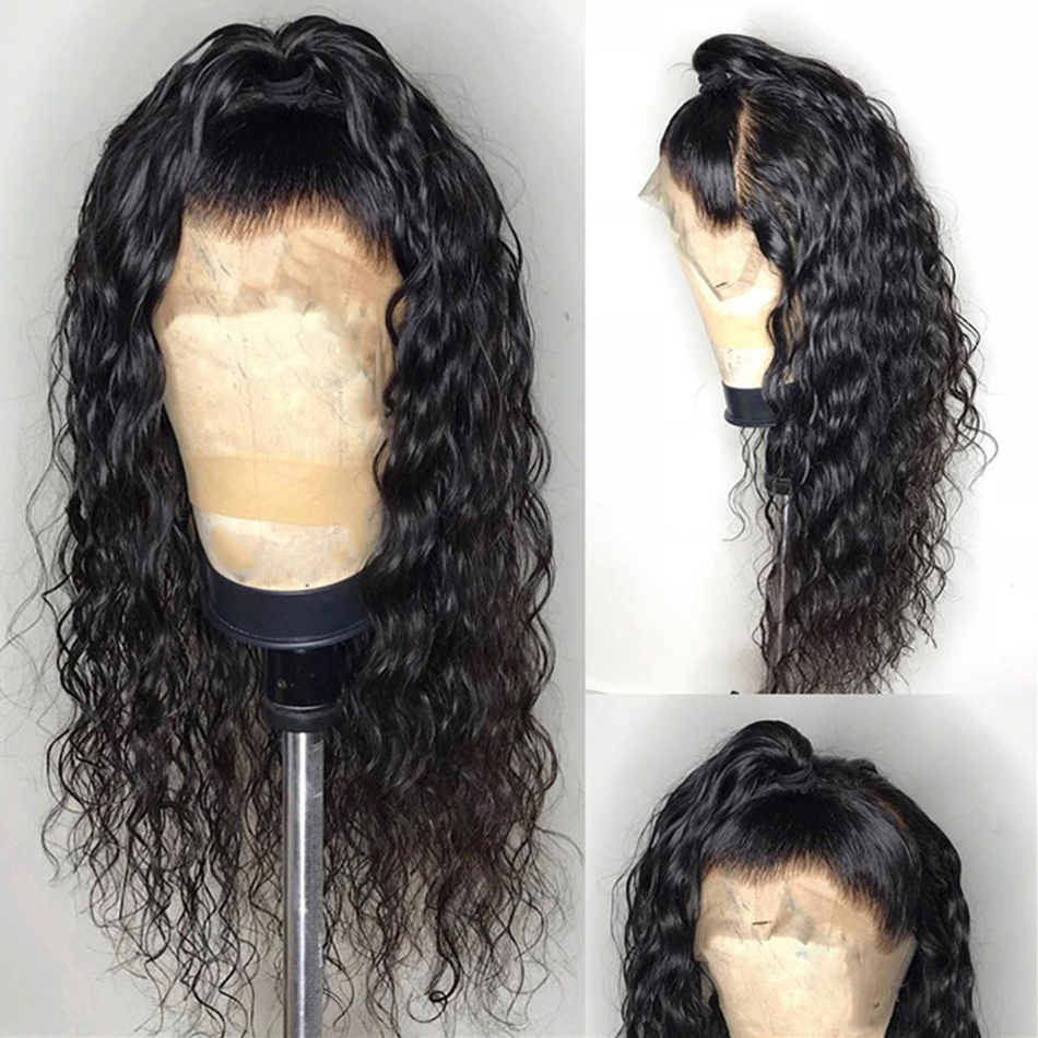 150 Density Lace Front Human Hair Wig With Bangs For Women Remy Brazilian Water Wave Wigs 13x6