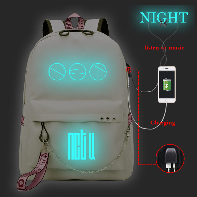 Woman Backpack Mochila Satchel Usb-Charger Latop Prints Travel Girls NTC Students Casual title=