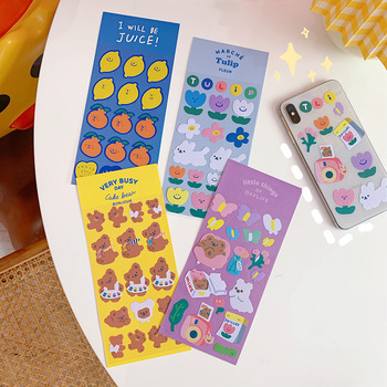 Korean Cartoon Bear Tulips Cute Stickers Traceless Waterproof Creative Diy Notebook Mobile Phone Decorative Sticker Stationery