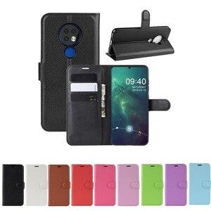Image 1 - 50 unids/lote Litchi patrón Flip PU cuero billetera teléfono funda para Nokia 6,2 Lychee grano cubierta