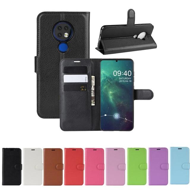50 unids/lote Litchi patrón Flip PU cuero billetera teléfono funda para Nokia 6,2 Lychee grano cubierta