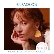 ENFASHION Double Heart Drop Earrings For Women Gold Color Geometric Statement Big Dangle Earings Fashion Jewelry Oorbellen E1031