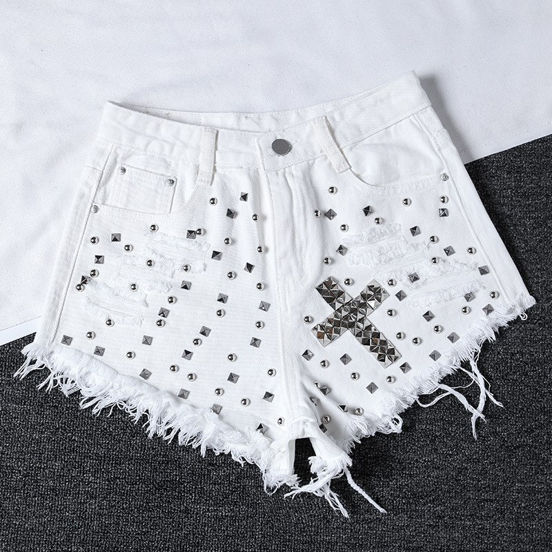 Nice Rivet Denim Shorts Nice Summer Women High Waist Loose Jeans Shorts Casual Jeans Shorts