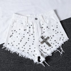 Nizza Rivetto Denim shorts Nizza Donne di Estate A Vita Alta Jeans Larghi shorts casual Jeans shorts