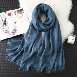 Image 3 - Лидер продаж 2020, новый зимний теплый толстый шарф хиджаб из чистого кашемира, Женская шаль, бандана, женские шарфы, Пашмина