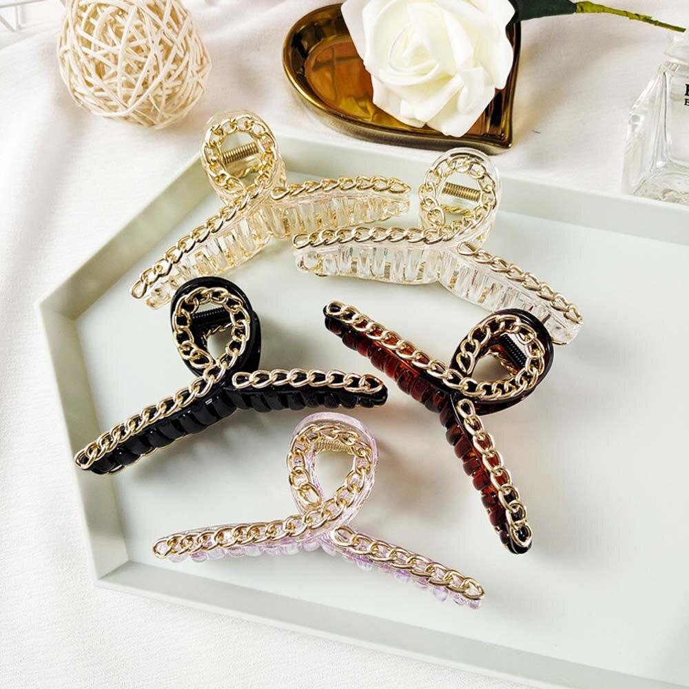 Korean Style Hair Clip Chain Large Plate Hair Claw Grab Clip Horsetail Clip Temperament Grab Clip Women Headwear|Women