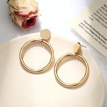 Hote Simple fashion gold color Silver plated geometric big round earrings for women hollow drop jewelry
