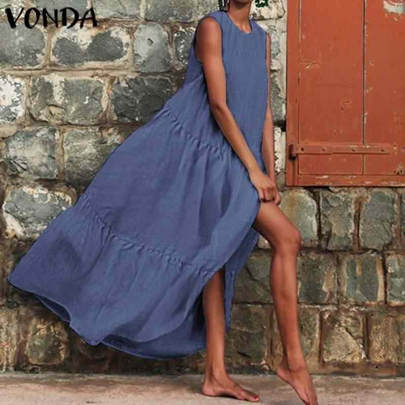 VONDA Kadınlar uzun elbise Casual O Boyun Maxi uzun elbise es 2019 Vintage Katı Renk Sundress Bohemian Vestidos 5XL Analık Bornoz
