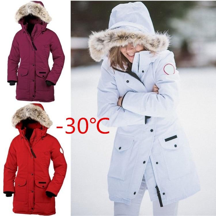 -30 Celsius Women's   Coat   Thickening   Coat   Goose   Down   Jacket Waterproof Warm Hooded   Down     Coat   Long Duck   Down   Sherpa Pocket Parka