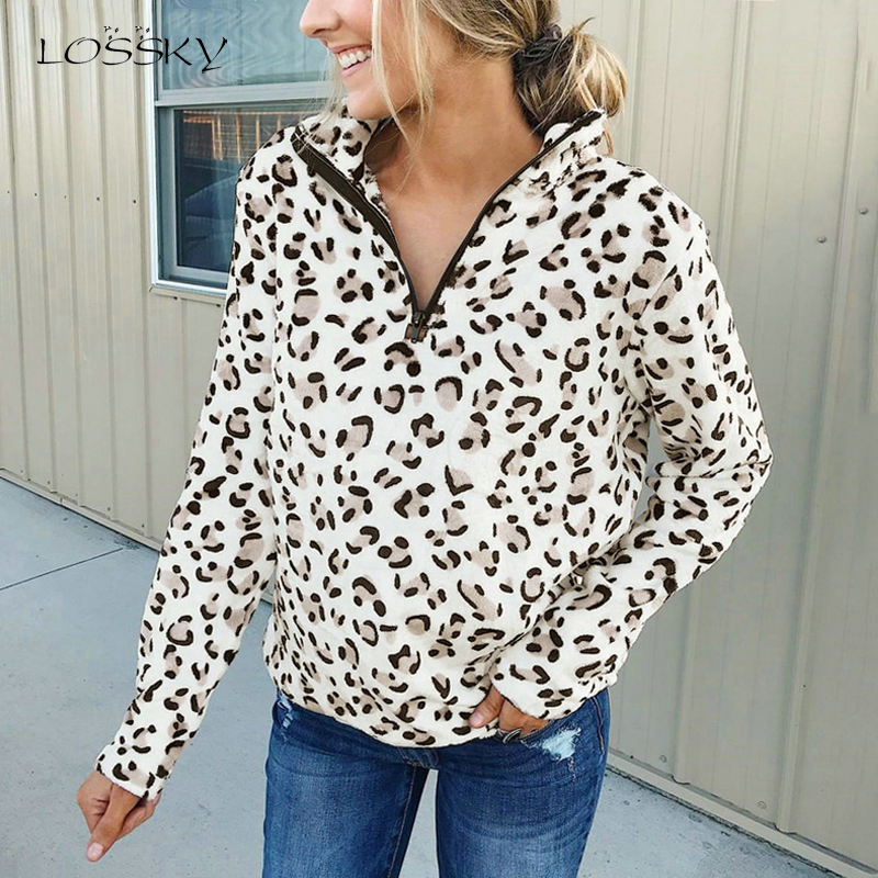 Lossky Women Autumn Pullover Sweatshirt Zipper Leopard Print Long Sleeve Thin Top New Arrival Loose Ladies Stand Collar Clothing
