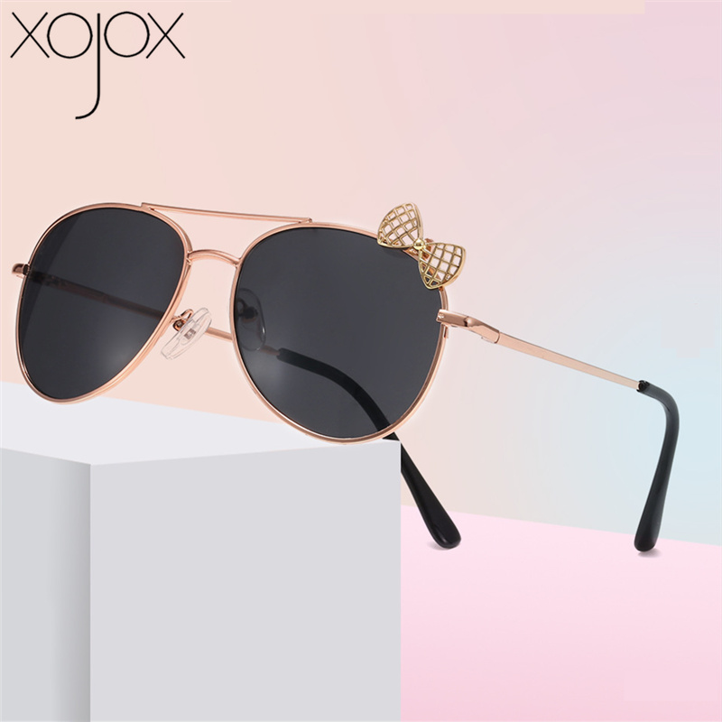 XojoX Kids Sunglasses Metal Frame Bow Children Sun Glasses Fashion Gilrs Outdoor Goggles Party Eyewear Cute Style Eyeglasses