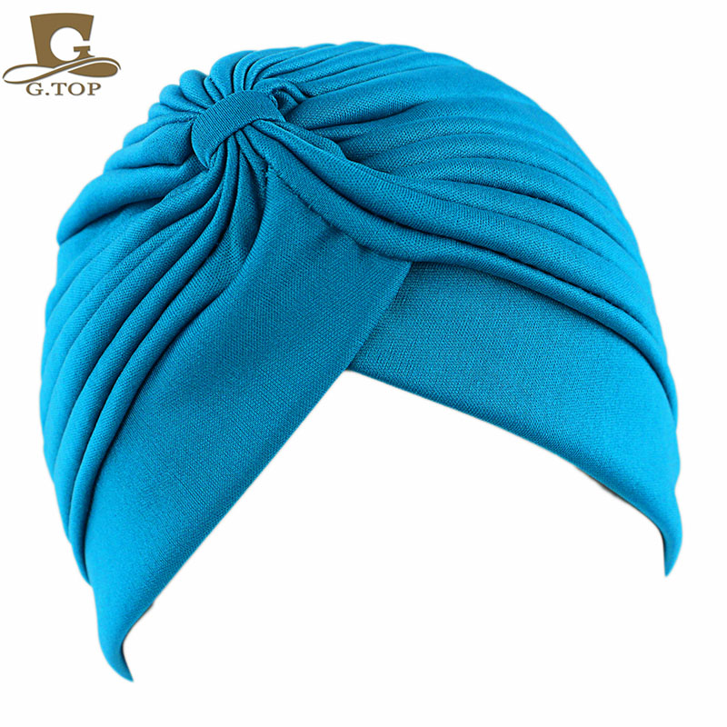 Solid Color Turban For Women Fashion Hair Wear Head Wrap Ladies Headwear Cancer Hats  India Cap Bandana