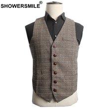 Showersmile осенний коричневый костюм жилет мужской шерстяной