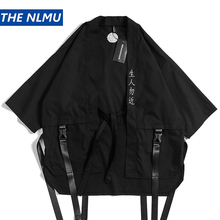 Harajuku Open Stitch Kimono Jackets Men Hip Hop Thin Coat Ribbon Streetwear Male 2019 Fashion Autumn Mens Loose Jacket HW326