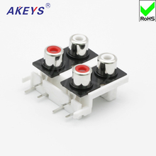 2 pcs AV4-8.4-9 Socket 6-foot RCA seat 4-hole PCB welded Audio Video socket Lotus