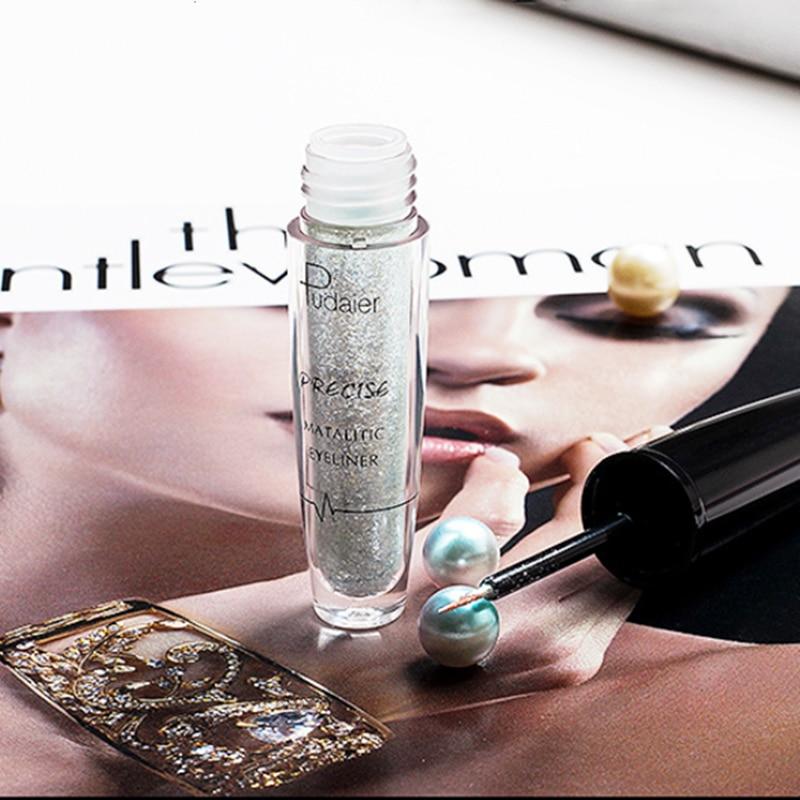 Sıcak Yeni Pırıltılı Beyaz Eyeliner Jel Su Geçirmez Uzun Ömürlü Glitter Göz Kalemi makyaj Altın Yeşil Gümüş Eyeliners Kozmetik